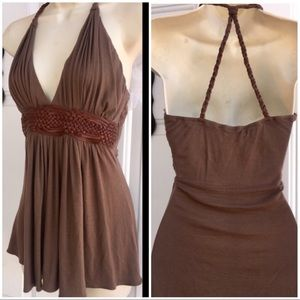 SKY Mahogany Plunging Braid Leather Halter Top L